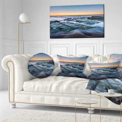 Sunrise over Wide Sydney Ocean Seashore Throw Pillow Size: 16 x 16