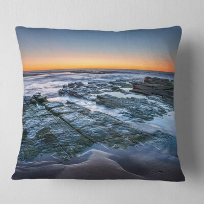 Sunrise over Wide Sydney Ocean Seashore Pillow Size: 16 x 16, Product Type: Throw Pillow