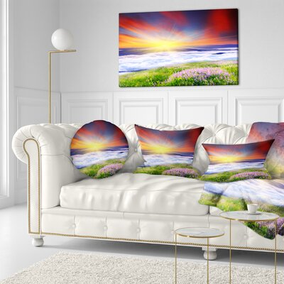 Sunrise with Blooming Flowers Landscape Printed Throw Pillow Size: 16 x 16
