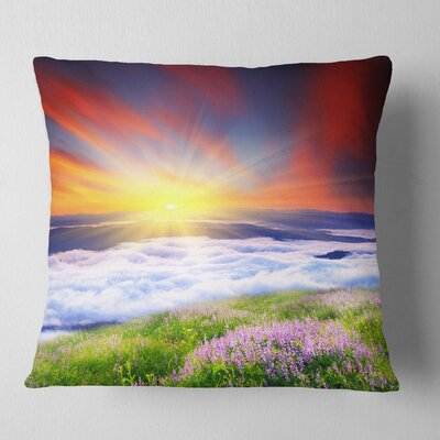 Sunrise with Blooming Flowers Landscape Printed Pillow Size: 18 x 18, Product Type: Throw Pillow