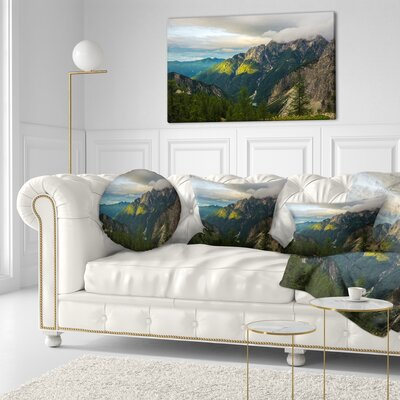 Sunrise with Reflection Landscape Photo Throw Pillow Size: 16 x 16
