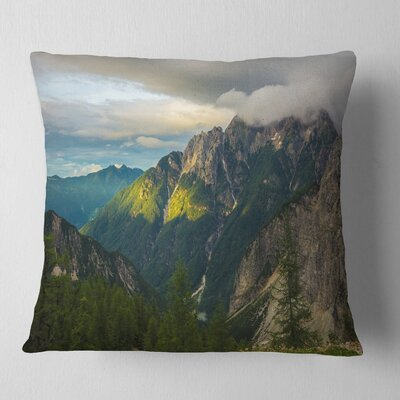 Sunrise with Reflection Landscape Photo Pillow Size: 16 x 16, Product Type: Throw Pillow