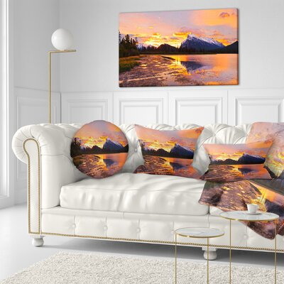 Sunset Above Vermilion Lakes Landscape Photography Throw Pillow Size: 20 x 20