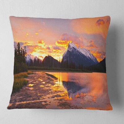 Sunset Above Vermilion Lakes Landscape Photography Pillow Size: 18 x 18, Product Type: Throw Pillow