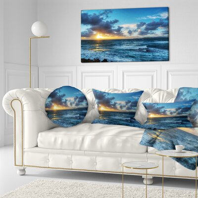 Sunset at Alghero Under Dramatic Sky Seashore Throw Pillow Size: 16
