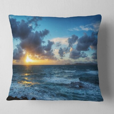 Sunset at Alghero Under Dramatic Sky Seashore Pillow Size: 18