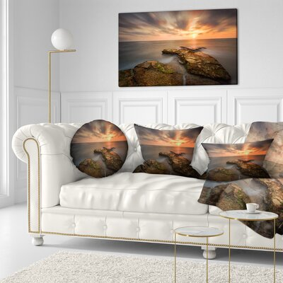 Sunset at Atlantic Coast Spain Seascape Photography Throw Pillow Size: 16 x 16