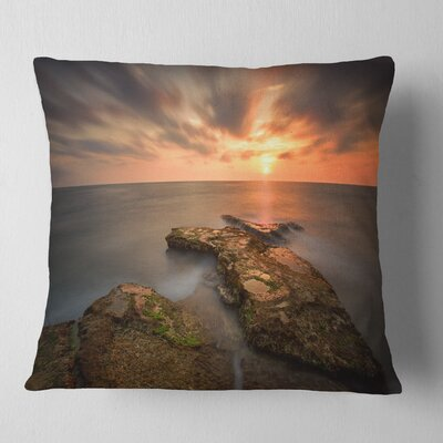 Sunset at Atlantic Coast Spain Seascape Photography Pillow Size: 18 x 18, Product Type: Throw Pillow