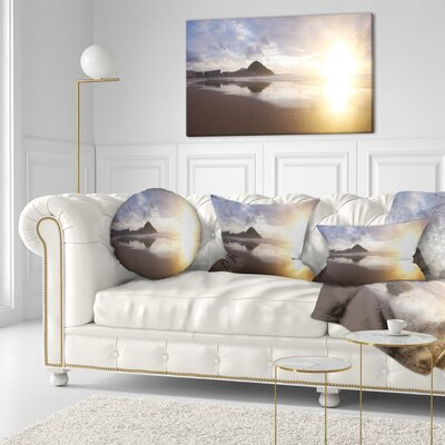 Sunset at Donostia Beach Seascape Throw Pillow Size: 16 x 16