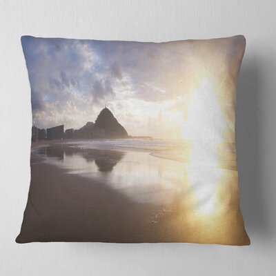 Sunset at Donostia Beach Seascape Pillow Size: 16 x 16, Product Type: Throw Pillow