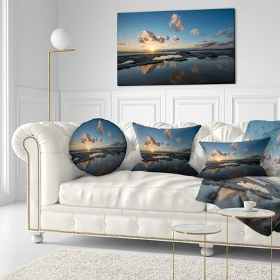 Sunset at La Perhouse Beach Seascape Throw Pillow Size: 16 x 16