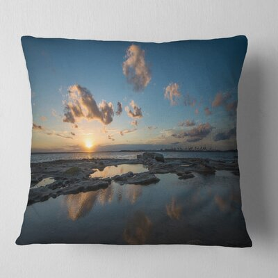 Sunset at La Perhouse Beach Seascape Pillow Size: 16 x 16, Product Type: Throw Pillow
