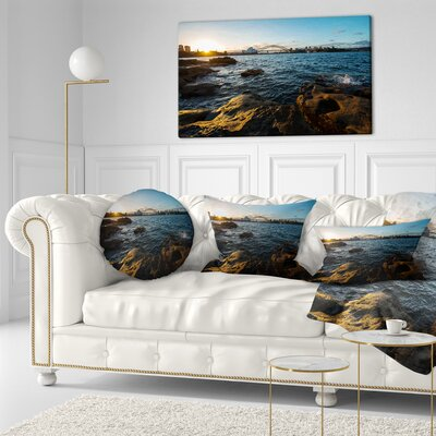 Sunset at Opera House Sydney Seashore Throw Pillow Size: 16 x 16