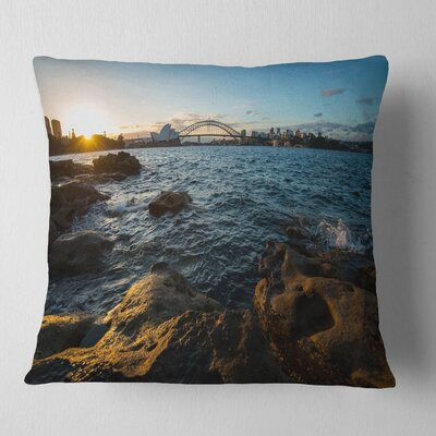 Sunset at Opera House Sydney Seashore Pillow Size: 18 x 18, Product Type: Throw Pillow