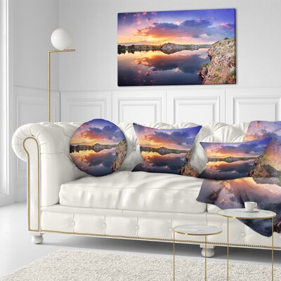 Sunset at River with Large Clouds Landscape Photography Throw Pillow Size: 16 x 16