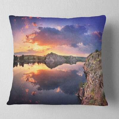 Sunset at River with Large Clouds Landscape Photography Pillow Size: 26 x 26, Product Type: Euro Pillow