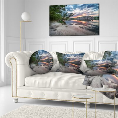 Sunset at River with Large Rock Landscape Photo Throw Pillow Size: 16 x 16