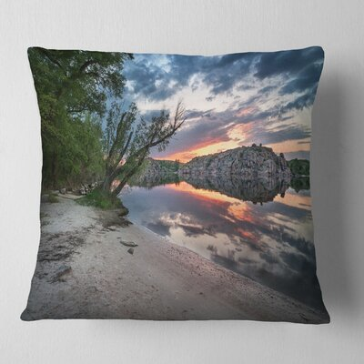 Sunset at River with Large Rock Landscape Photo Pillow Size: 18 x 18, Product Type: Throw Pillow