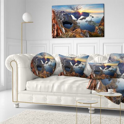 Sunset at Rocky Mountains Norway Landscape Photography Throw Pillow Size: 16 x 16