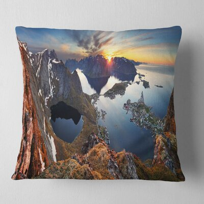 Sunset at Rocky Mountains Norway Landscape Photography Pillow Size: 26 x 26, Product Type: Euro Pillow
