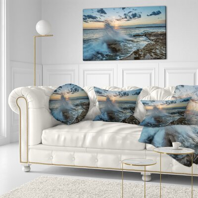 Sunset at Sydney Seashore Seascape Throw Pillow Size: 20 x 20