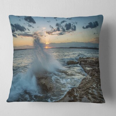 Sunset at Sydney Seashore Seascape Pillow Size: 18 x 18, Product Type: Throw Pillow