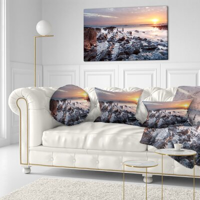 Sunset at Woolacombe Bay Devon UK Seashore Throw Pillow Size: 16 x 16