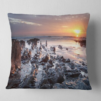 Sunset at Woolacombe Bay Devon UK Seashore Pillow Size: 18 x 18, Product Type: Throw Pillow