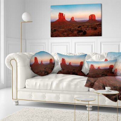 Sunset in Monument Valley Landscape Printed Throw Pillow Size: 16 x 16