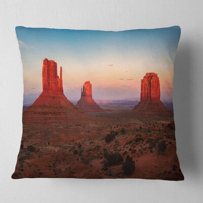 Sunset in Monument Valley Landscape Printed Pillow Size: 16 x 16, Product Type: Throw Pillow