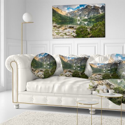 Sunset over High Mountains Landscape Printed Throw Pillow Size: 16 x 16
