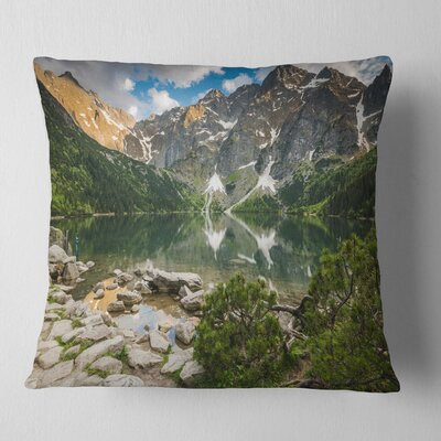 Sunset over High Mountains Landscape Printed Pillow Size: 26 x 26, Product Type: Euro Pillow