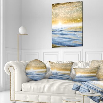 Sunset over the Sea with Snow Skyline Photography Throw Pillow Size: 16 x 16