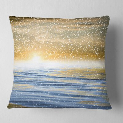 Sunset over the Sea with Snow Skyline Photography Pillow Size: 26 x 26, Product Type: Euro Pillow