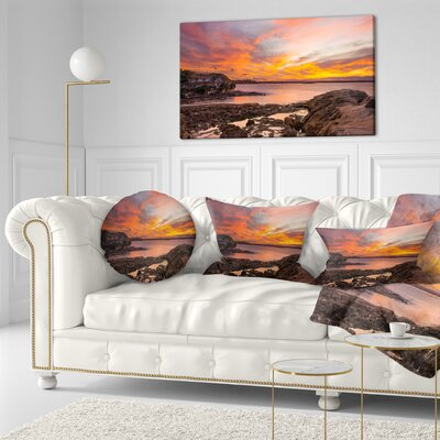 Sunset Sky Panoramic Sydney View Seashore Throw Pillow Size: 16 x 16