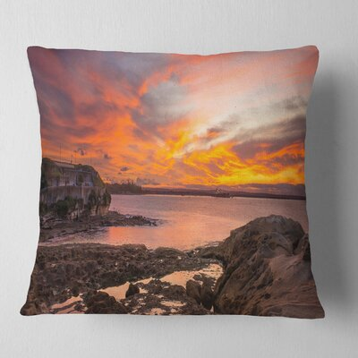Sunset Sky Panoramic Sydney View Seashore Pillow Size: 18 x 18, Product Type: Throw Pillow