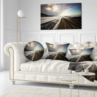 Surreal Atlantic Ocean Coast Seashore Photo Throw Pillow Size: 20 x 20