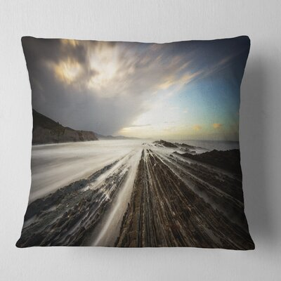 Surreal Atlantic Ocean Coast Seashore Photo Pillow Size: 16 x 16, Product Type: Throw Pillow