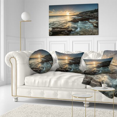 Sydney Beach with Bright Sunset Seascape Throw Pillow Size: 20 x 20