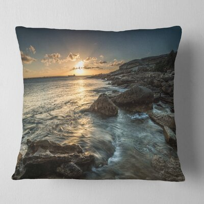 Sydney Beach with Bright Sunset Seascape Pillow Size: 16 x 16, Product Type: Throw Pillow