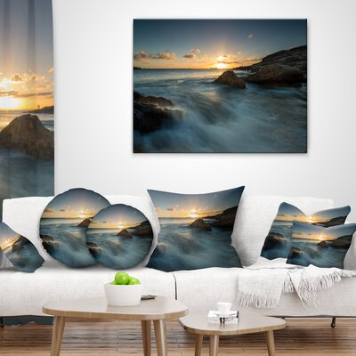 Sydney Seashore at Sunset Seascape Pillow Size: 18 x 18, Product Type: Throw Pillow