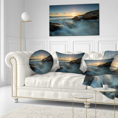 Sydney Seashore at Sunset Seascape Throw Pillow Size: 16 x 16