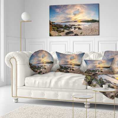 Sydney Seashore during Sunset Seascape Throw Pillow Size: 16 x 16