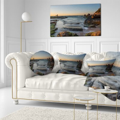 Sydney Sunrise over Seashore Seascape Throw Pillow Size: 16 x 16