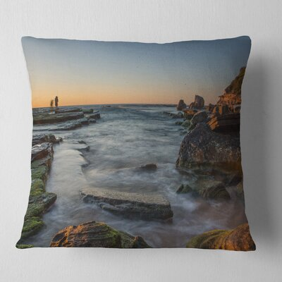 Sydney Sunrise over Seashore Seascape Pillow Size: 26 x 26, Product Type: Euro Pillow