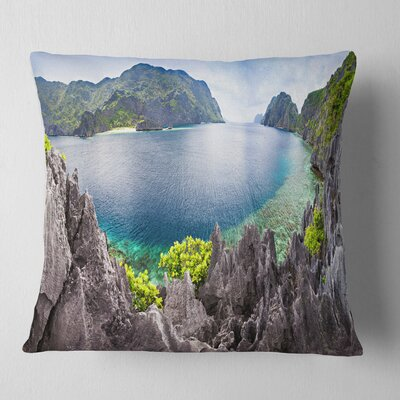 The Lagoon Panorama Landscape Printed Pillow Size: 26 x 26, Product Type: Euro Pillow