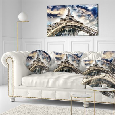The Paris Paris Eiffel Towerview from Ground Cityscape Throw Pillow Size: 20 x 20