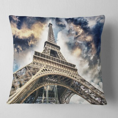 The Paris Paris Eiffel Towerview from Ground Cityscape Pillow Size: 26 x 26, Product Type: Euro Pillow