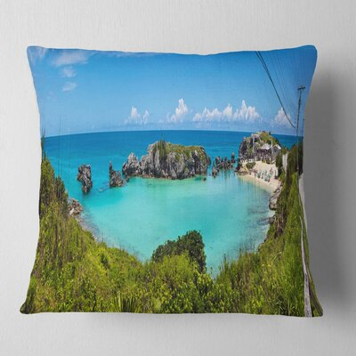Tobacco Bay Panorama Landscape Printed Pillow Size: 26 x 26, Product Type: Euro Pillow
