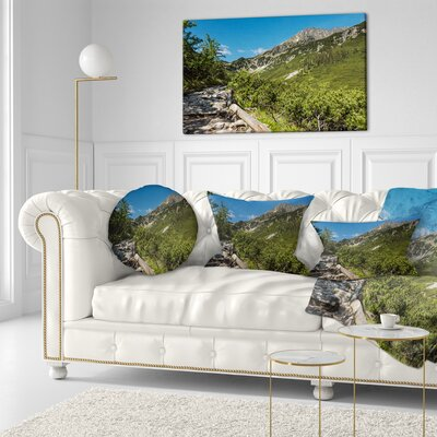 Tourist Trail in High Mountains Landscape Printed Throw Pillow Size: 16 x 16